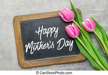 幸せ, 母, 書かれた, 黒板, 日