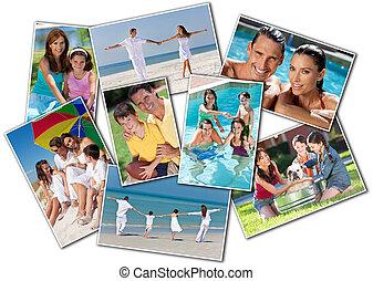 幸せ, 母, 父 及び子供, 家族, 浜, 公園, 家