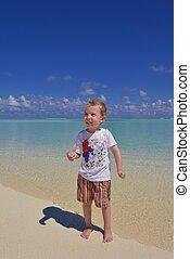 幸せ, 浜, 若い, 子供