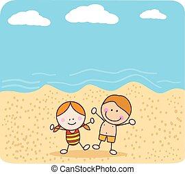 幸せ, 浜, 遊び, 子供