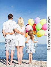 幸せ, 海岸, 風船, 家族, 束