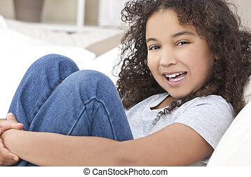 幸せ, 混合された 競争, african american 少女, 子供