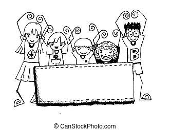 幸せ, 漫画, 子供, かわいい