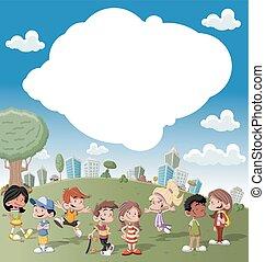幸せ, 漫画, 子供, 遊び