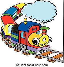幸せ, 漫画, 蒸気, 色, 列車