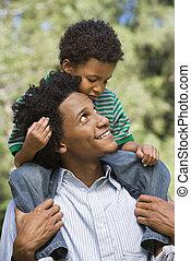 幸せ, 父, そして, son.