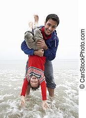 幸せ, 父, ∥で∥, 息子, 上に, 浜