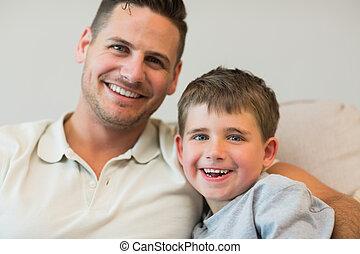 幸せ, 父 と 息子, 上に, ソファー