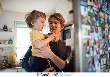 幸せ, 父, 息子, 屋内, よちよち歩きの子, home., 台所