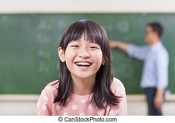 幸せ, 生徒, 微笑, クラスで, ∥で∥, 教師