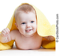 幸せ, 男の赤ん坊, 後で, 入浴