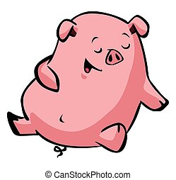 幸せ, 眠い, 豚