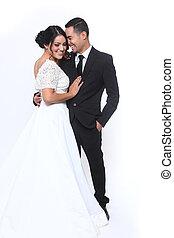 幸せ, 結婚式の カップル, 恋愛中である