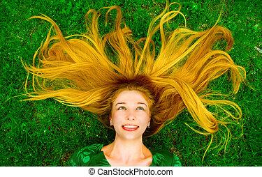 幸せ, 美しい女性, 中に, 草