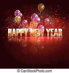 幸せ, 背景, year., 休日, 飛行, 新しい, 風船