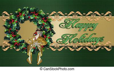 幸せ, 花輪, ボーダー, クリスマス, ホリデー