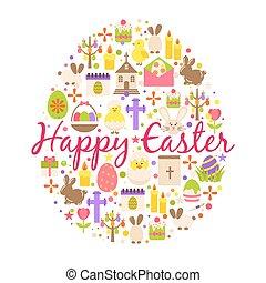 幸せ, 花, 形づくられた, 春, cupcake, 隔離された, テキスト, 挨拶, 装飾, 背景, 白, 要素, 卵, 漫画, カード, イースター