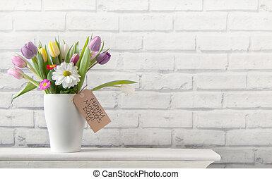 幸せ, 花, 日, 背景, 母
