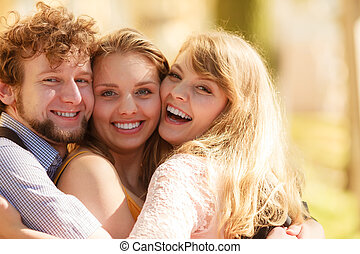 幸せ, 若い人々, 友人, outdoor.