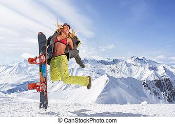 幸せ, 若い女性, ∥で∥, snowboard, 跳躍, 冬, スポーツウェア