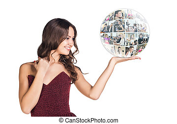 幸せ, 若い女性, プレゼント, a, 球
