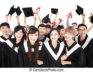 幸せ, 若い, グループ, 卒業生, 保有物, 卒業証書