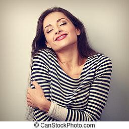 幸せ, 若い, 偶然, 女, 抱き合う, 彼女自身, ∥で∥, 自然, 感情的, 楽しむ, face., 愛, 概念,...