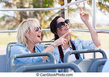 幸せ, 若い, 観光客, 上に, a, 旅行 バス