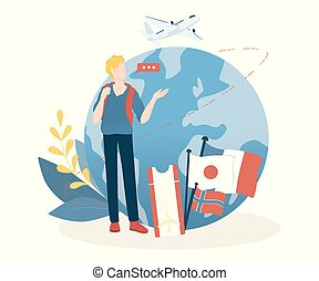 幸せ, 若い, world., 人, 観光事業, 旅行, concept., のまわり, 考え