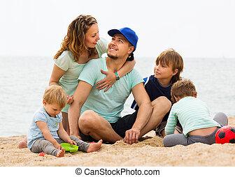 幸せ, 親, 休暇, 海, 子供