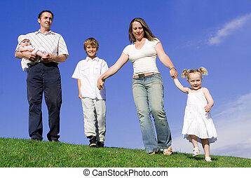 幸せ, 親, 若い 家族, 子供