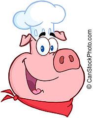 幸せ, 豚, シェフ, 頭