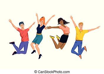 幸せ, 跳躍, グループ, 人々