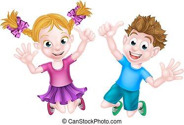 幸せ, 跳躍, 子供, 漫画