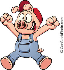 幸せ, 跳躍, 豚