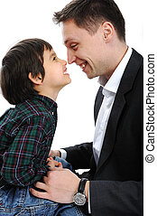 幸せ, 遊び, 父, 鼻, 息子