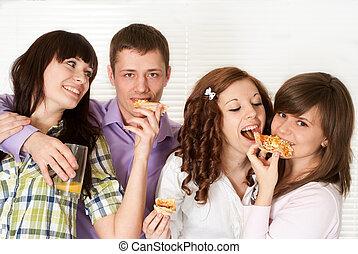 幸せ, 運, コーカサス人, キャンペーン, の, 4人の人々, ピザを 食べること