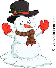 幸せ, 隔離された, 漫画, 背景, 白, 雪だるま