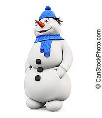 幸せ, 雪だるま, 上に, a, 白, バックグラウンド。, 3.