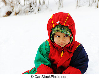 幸せ, 雪での子供, 白, 冬