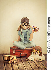 幸せ, 飛行機, おもちゃ, 遊び, 子供