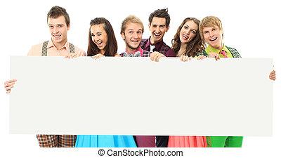 幸せ, banner., グループ, 人々