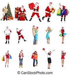 幸せ, collage., クリスマス, 人々