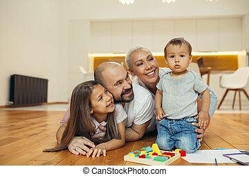 幸せ, countryhouse, 床, 家族, あること, 新しい
