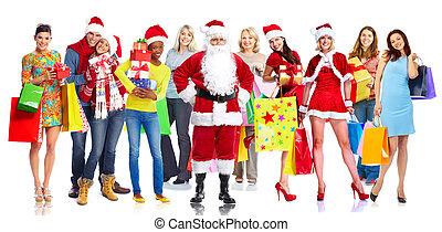 幸せ, gifts., グループ, クリスマス, 人々