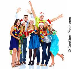 幸せ, group., クリスマス, 人々