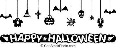 幸せ, halloween., ハロウィーン, 掛かること, ornaments., ベクトル, バックグラウンド。