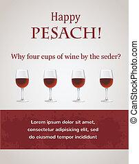 幸せ, seder, -, 過ぎ越しの祝い, 4, カップ, ワイン