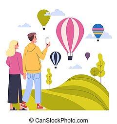 幸せ, world., 休暇旅行, 観光事業, concept., 恋人, のまわり, 持つこと, 考え