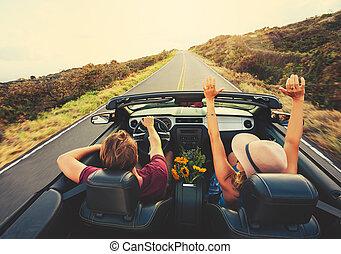 幸福的對, 開車, 在, 可改變
